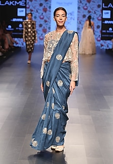 Teal blue embroidered saree and stone colour blouse set by Payal Singhal