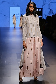 Dove Grey Raised Hem Tunic with Blush Embroidered Palazzo Pants by Payal Singhal