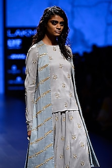 Dove Grey Embellished Top, Powder Blue Embroidered Jacket and Pants Set by Payal Singhal