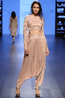 Blush Embroidered Front Cropped Anarkali with Blush Pants by Payal Singhal