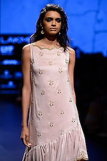 Blush Scallop Embroidered Ruffle Hem Kurta Set by Payal Singhal
