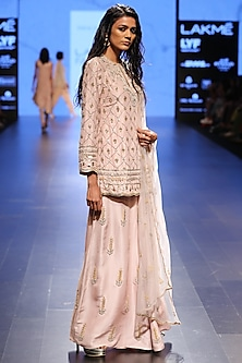 Blush Ogee Embroidered Kurta and Palazzos Set by Payal Singhal