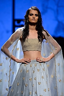 Powder Blue Pearl Embroidered Bustier with Embellished Scallop Lehenga Skirt by Payal Singhal