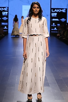 Stone Feather Embroidered Crop Top with Overlay Palazzo Pants by Payal Singhal