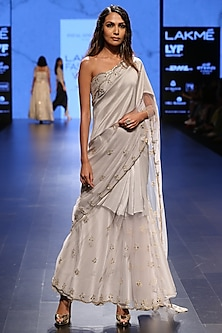 Dove Grey Embellished Bustier with Half and Half Embroidered Saree by Payal Singhal
