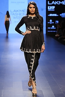 Black Silk Embroidered Scallop Kurta and Petal Pants Set by Payal Singhal