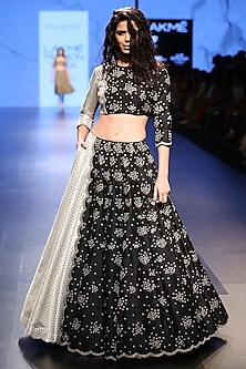 Black Embroidered Scallop Hem Lehenga and Choli Set by Payal Singhal