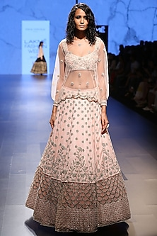 Pink Pearl Embroidered Choli, Lehenga and Embroidered Top Set by Payal Singhal