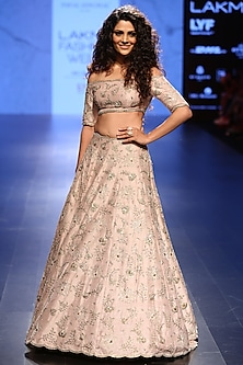 Blush Embroidered Lehenga and Off Shoulder Choli Set by Payal Singhal