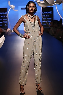 Grey Embroidered Jumpsuit by Payal Singhal