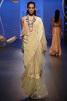 Pale Yellow Embroidered Saree with Peach Top by Payal Singhal