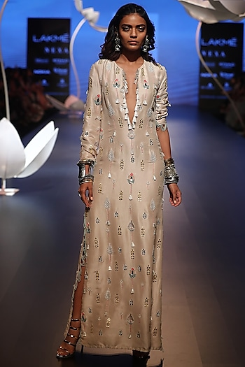 Stone Embroidered Slit Kaftan by Payal Singhal