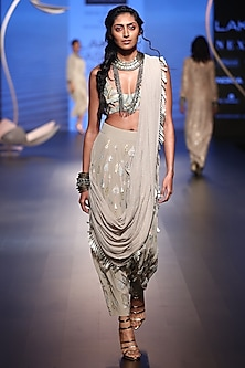 Grey Embroidered Choli with Crotch Pants and Drape by Payal Singhal