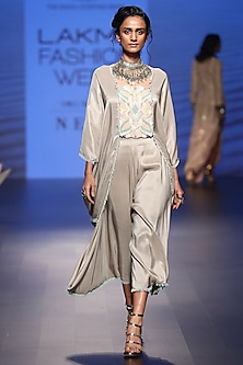 Grey Embroidered Kaftan Top with Cowl Pants by Payal Singhal