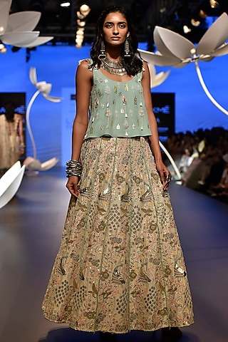 Aqua Embroidered Top with Stone Lehenga Skirt by Payal Singhal