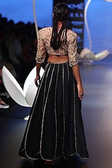 Rose Pink Embroidered Choli with Navy Lehenga Skirt by Payal Singhal