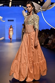Stone Embroidered Choli with Peach Lehenga Skirt by Payal Singhal
