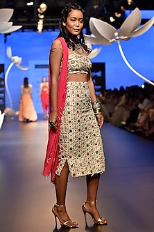 Stone Embroidered Bustier with Skirt and Dupatta by Payal Singhal