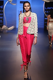 Stone Embroidered Jacket with Hot Pink Bustier and Pants by Payal Singhal
