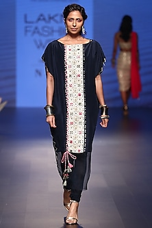 Navy embroidered kaftan with churidar pants by Payal Singhal