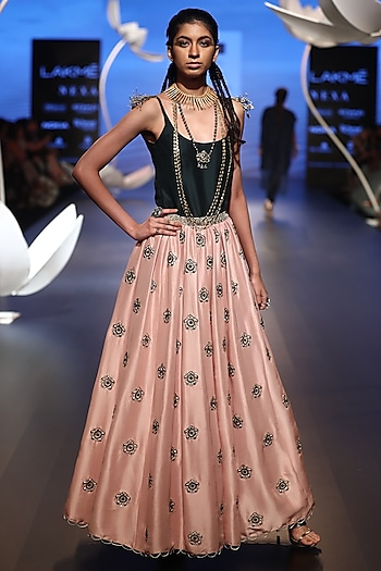Emerald Embroidered Top with Blush Pink Lehenga Skirt by Payal Singhal