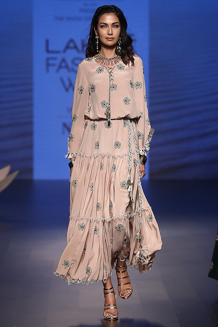 Rose Pink Dress with Belt by Payal Singhal