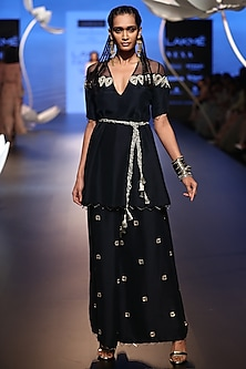 Navy Embroidered Kurta with Palazzo Pants and Belt by Payal Singhal