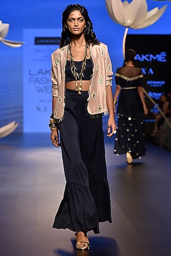 Rose Pink Embroidered Jacket with Navy Palazzo Pants and Bustier by Payal Singhal