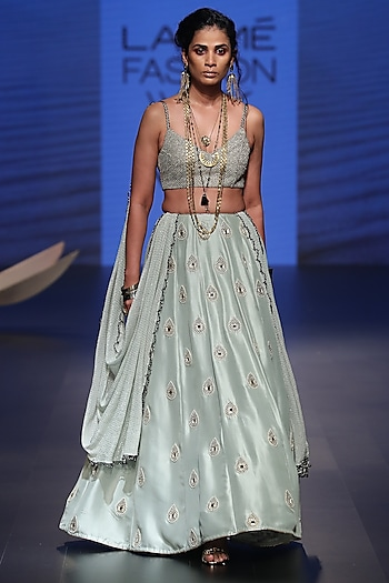 Powder Blue Embroidered Lehenga Set by Payal Singhal