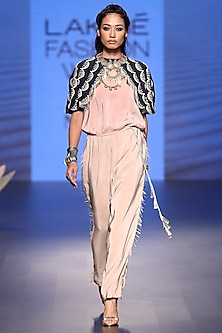 Navy Embroidered Cape with Rose Pink Jumpsuit by Payal Singhal