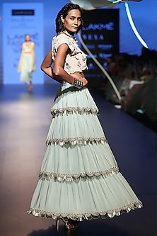 Stone Embroidered Top with Ice Blue Lehenga Skirt by Payal Singhal