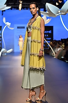 Lime Green Embroidered Jacket with Ice Blue Bustier and Palazzo Pants by Payal Singhal
