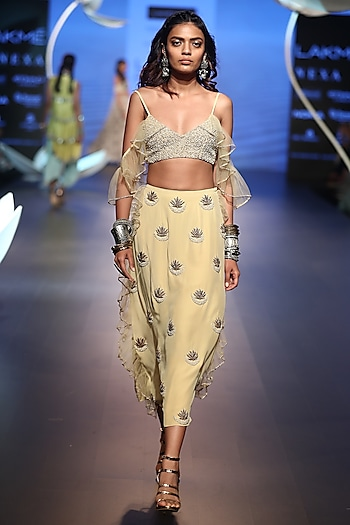 Pale Yellow Embroidered Top with Lehenga Skirt by Payal Singhal