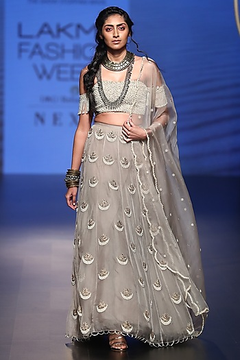 Grey Embroidered Lehenga Set by Payal Singhal