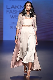 Rose Pink Embroidered Long Jacket with Culottes and Bustier by Payal Singhal