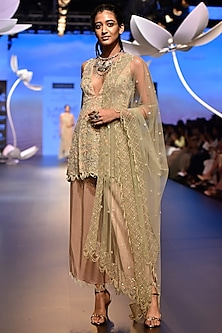 Off White Embroidered Anarkali Set by Payal Singhal