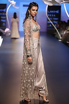 Grey embroidered bikini top with low crotch pants and jacket by Payal Singhal