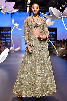 Powder Blue Embroidered Top with Lehenga and Jacket by Payal Singhal