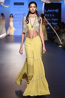 Lime green embroidered sharara set with jacket by Payal Singhal