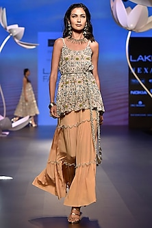 Peach Embroidered Sharara Set with Belt by Payal Singhal
