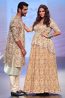Stone Embroidered Peplum Choli with Lehenga Skirt by Payal Singhal