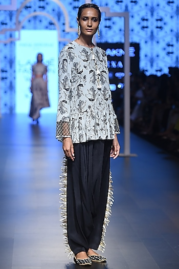Powder Blue Embroidered Peplum Top with Black Cowl Pants by Payal Singhal