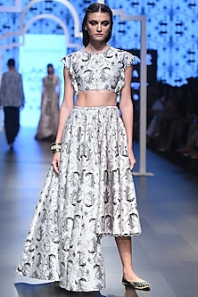 Stone Embroidered Crop Top with Blush High Low Lehenga by Payal Singhal