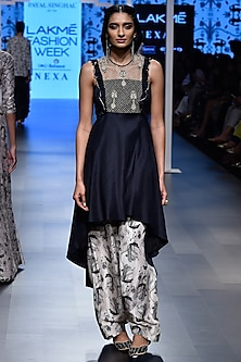 Black Embroidered Asymmetric Kurta with Blush Printed Salwar by Payal Singhal
