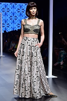Black Embroidered Bustier with Blush Printed Lehenga Pants by Payal Singhal