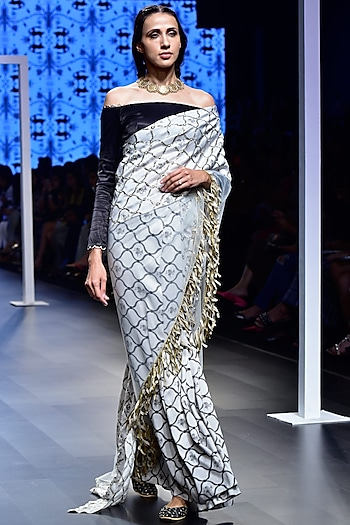 Stone Embroidered Saree with Black Off-Shoulder Blouse by Payal Singhal