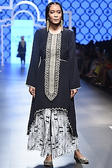 Black Embroidered Asymmetric Kurta with Printed Palazzo Pants by Payal Singhal