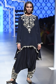 Black Embroidered Asymmetric Kurta with Cowl Pants by Payal Singhal