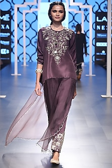 Eggplant Embroidered Kurta with Pants by Payal Singhal