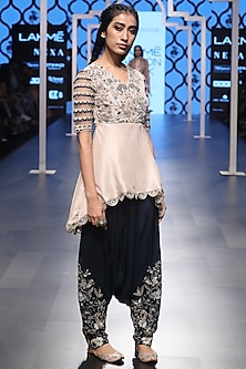 Blush Embroidered High Low Kurta with Navy Blue Cowl Pants by Payal Singhal